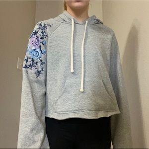 AMERICAN RAG Medium Cropped floral hoodie